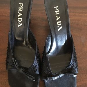 Prada beaded kitten mules